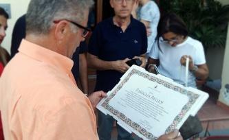 Pergamena di riconoscimento alla famiglia rilasciata dal Comune di Tolentino